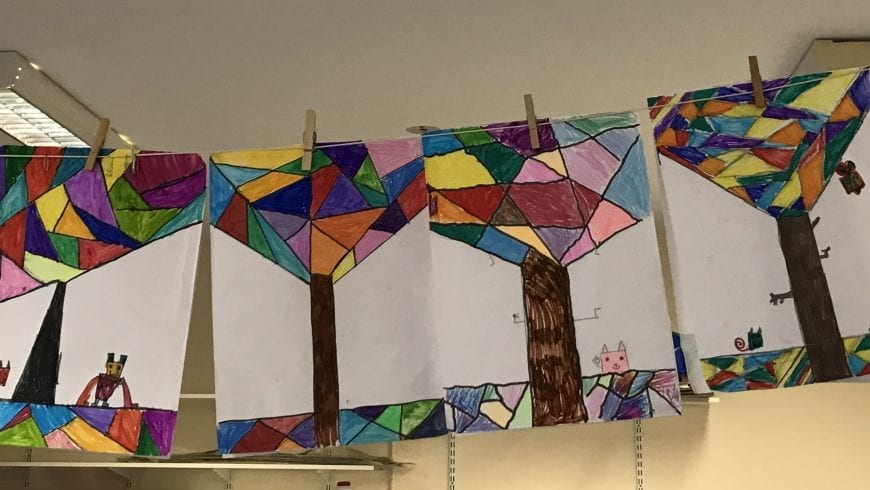 Picasso inspired cubism trees